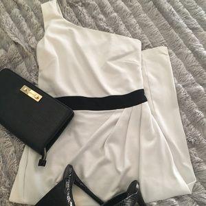 Bebe One shoulder white midi dress